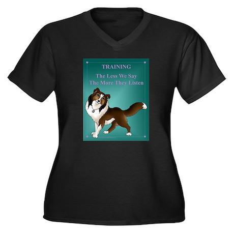 Say Less Women's Plus Size V-Neck Dark T-Shirt