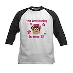 Little Monkey is 3! Kids Baseball Jersey