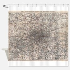 Vintage Map of London England (1900 Shower Curtain