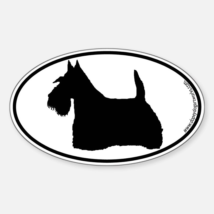 Scottie SILHOUETTE Oval Decal