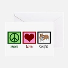 Peace Love Corgis Greeting Card