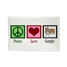 Peace Love Corgis Rectangle Magnet