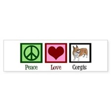 Peace Love Corgis Bumper Sticker