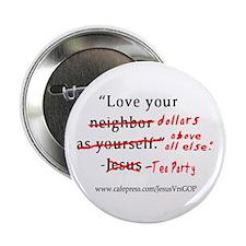 """Jesus Vrs Tea Party 2.25"""" Button (10 pack)"""