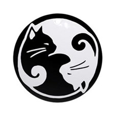 Yin Yang Cat Ornament (Round)