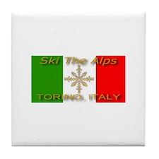 Ski The Alps Torino Italy Tile Coaster