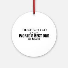 World's Best Dad - Firefighter Ornament (Round)