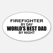 World's Best Dad - Firefighter Sticker (Oval)