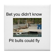 Pit Bulls Can Fly Tile Coaster