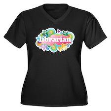 Retro Burst Librarian Women's Plus Size V-Neck Dar