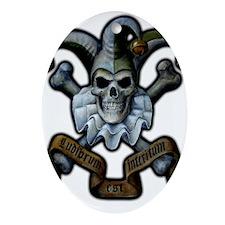Skull and Cross Bones Jester Ornament (Oval)