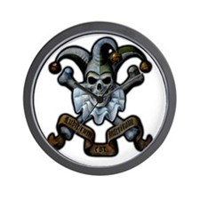 Skull and Cross Bones Jester Wall Clock