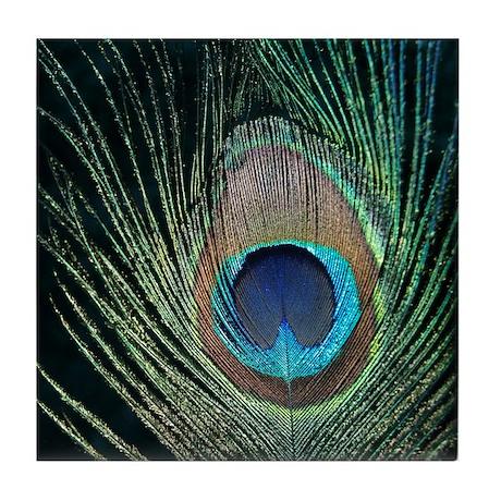 Dark Peacock Feather Tile Coaster