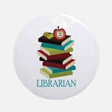 Book Stack Librarian Ornament (Round)