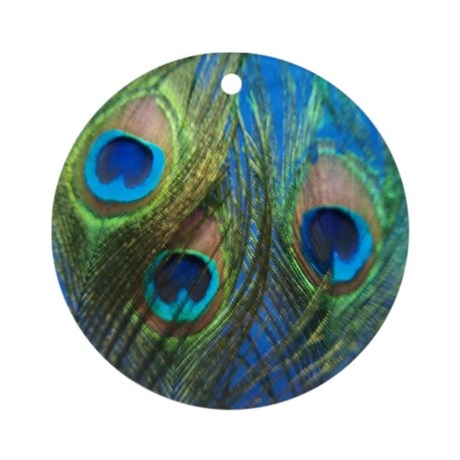 Blue Peacock Feathers Ornament (Round)