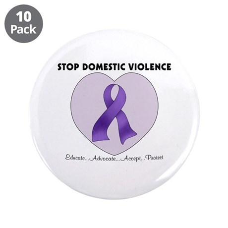 """Stop Domestic Violence 3.5"""" Button (10 pack)"""