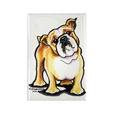 Fawn White Bulldog Rectangle Magnet