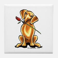 Red Dachshund Lover Tile Coaster