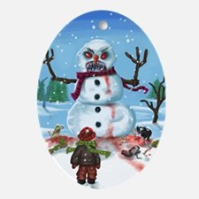 Little Timothys LAST Snowman Ornament (Oval)