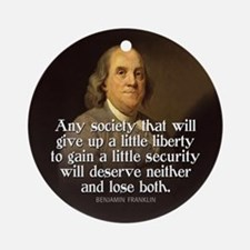 Ben Franklin Quotes Ornament (Round)