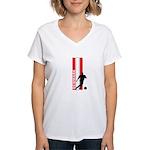 DENMARK SOCCER 3 Women's V-Neck T-Shirt