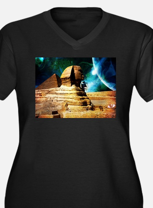 Cute Ancient egyptian pyramids Women's Plus Size V-Neck Dark T-Shirt