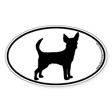 Chihuahua (Smooth) SILHOUETTE Oval Sticker