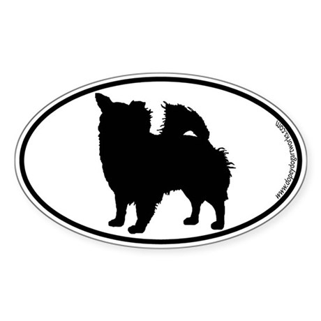 Chihuahua (Long) SILHOUETTE Oval Sticker