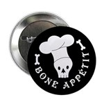 "Bone Appetit Skeleton Chef Halloween 2.25"" Bu"