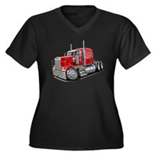Kenworth W900 Red Truck Women's Plus Size V-Neck D