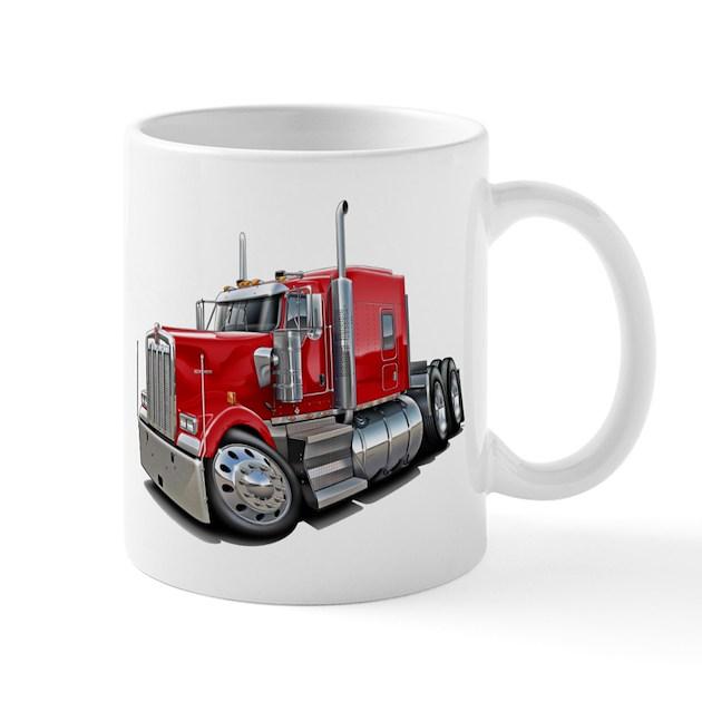 Kenworth W900 Red Truck Mug by MaddDoggTrucks