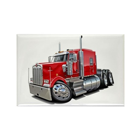 Kenworth W900 Red Truck Rectangle Magnet
