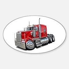 Kenworth W900 Red Truck Sticker (Oval)