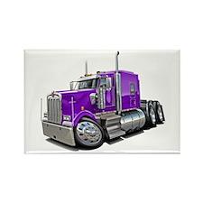 Kenworth W900 Purple Truck Rectangle Magnet