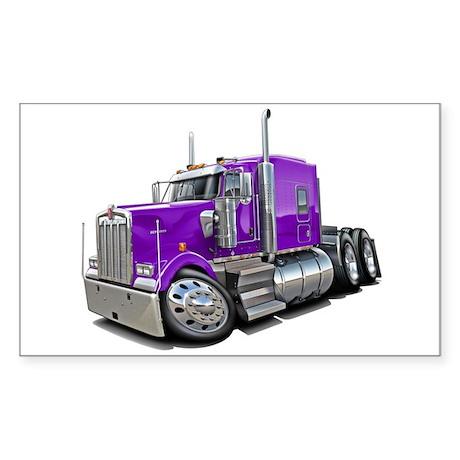 Kenworth W900 Purple Truck Sticker (Rectangle)
