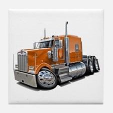Kenworth W900 Orange Truck Tile Coaster