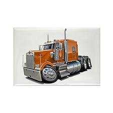 Kenworth W900 Orange Truck Rectangle Magnet