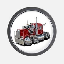 Kenworth W900 Maroon Truck Wall Clock