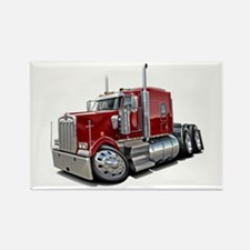 Kenworth W900 Maroon Truck Rectangle Magnet