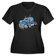 Kenworth W900 Lt Blue Truck Women's Plus Size V-Ne