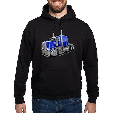 Kenworth W900 Blue Truck Hoodie (dark)
