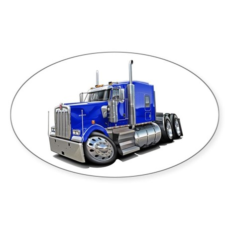 Kenworth W900 Blue Truck Sticker (Oval)