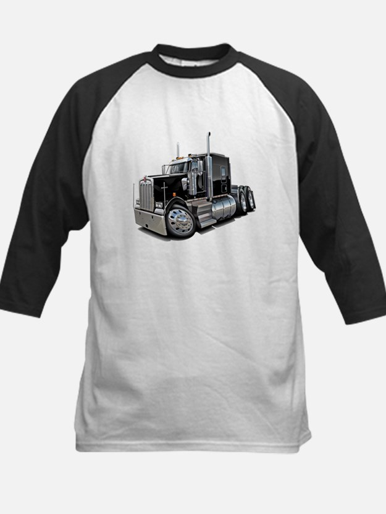 Kenworth W900 Black Truck Kids Baseball Jersey