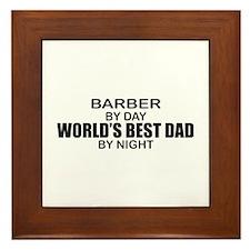 World's Best Dad - Barber Framed Tile