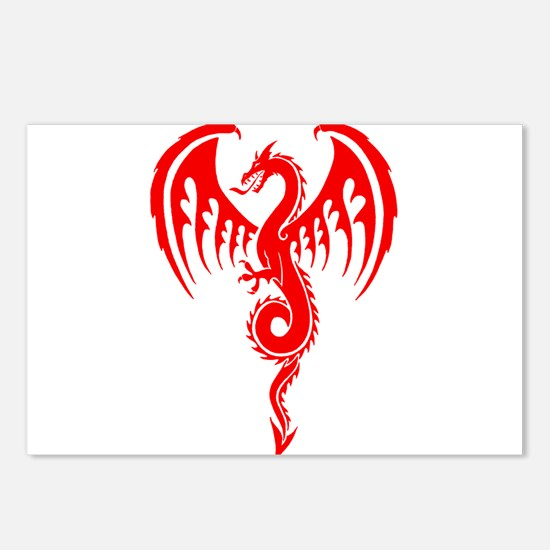 Red Tribal Dragon Postcards (Package of 8)