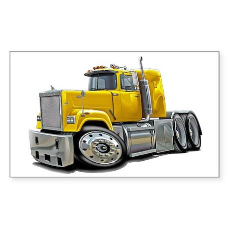 Mack Superliner Yellow Truck Sticker (Rectangle)