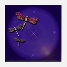 Starry Skies Dragonflies Tile Coaster