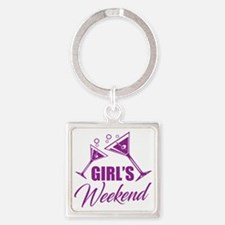 Cute Weekend Square Keychain
