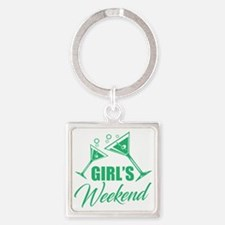 Funny Weekend Square Keychain