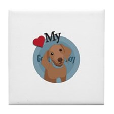 Love Good Boy Daschund Tile Coaster